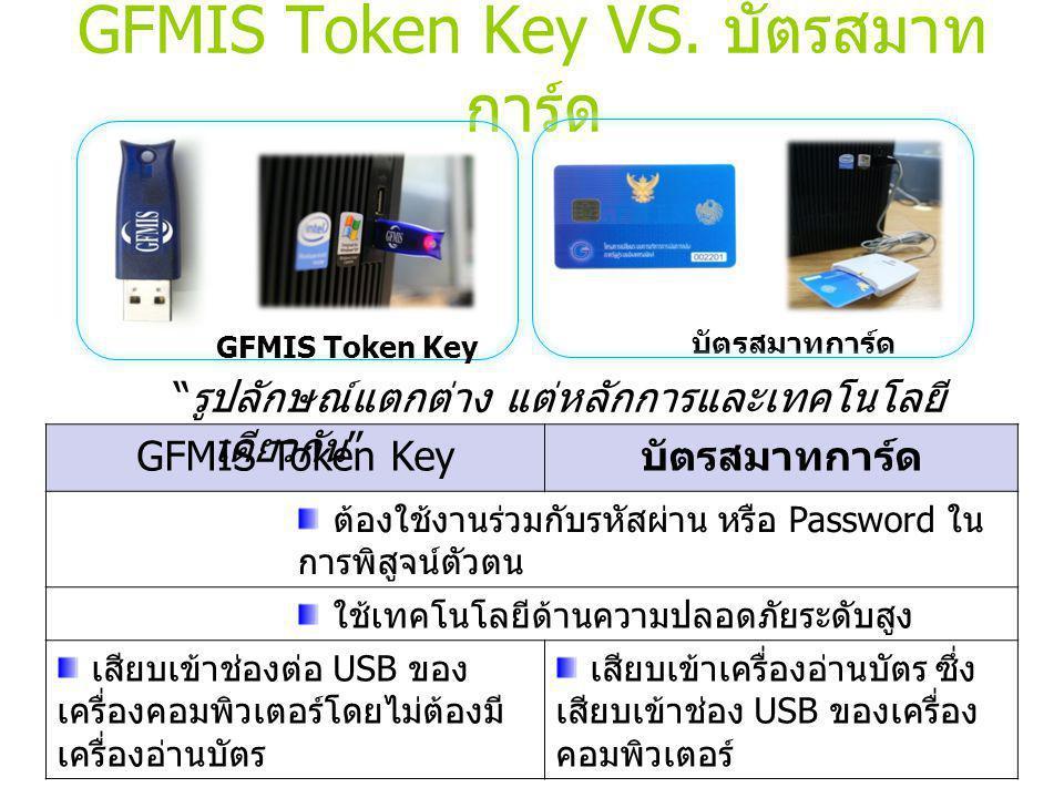 GFMIS Token Key VS. บัตรสมาทการ์ด