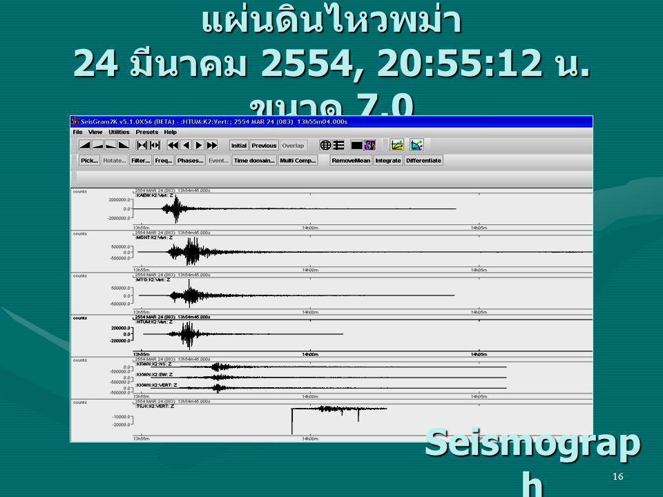 แผ่นดินไหวพม่า 24 มีนาคม 2554, 20:55:12 น. ขนาด 7.0