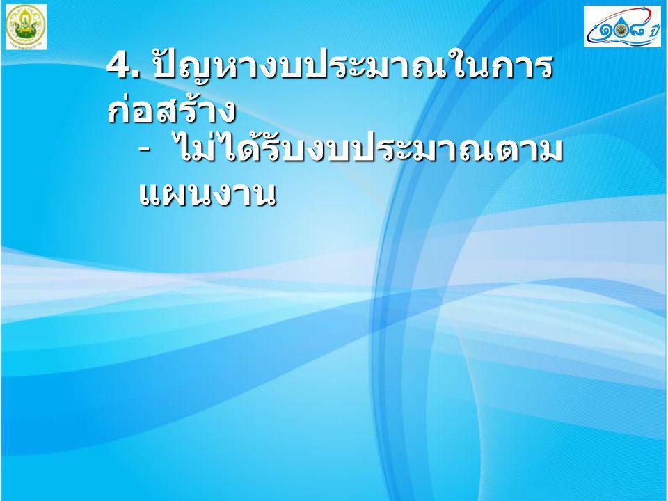 4. ปัญหางบประมาณในการก่อสร้าง