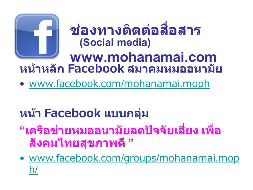 ช่องทางติดต่อสื่อสาร (Social media) www.mohanamai.com
