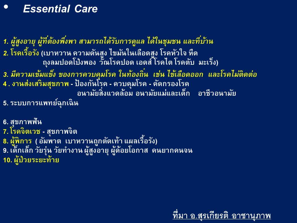 Essential Care ที่มา อ.สุรเกียรติ อาชานุภาพ