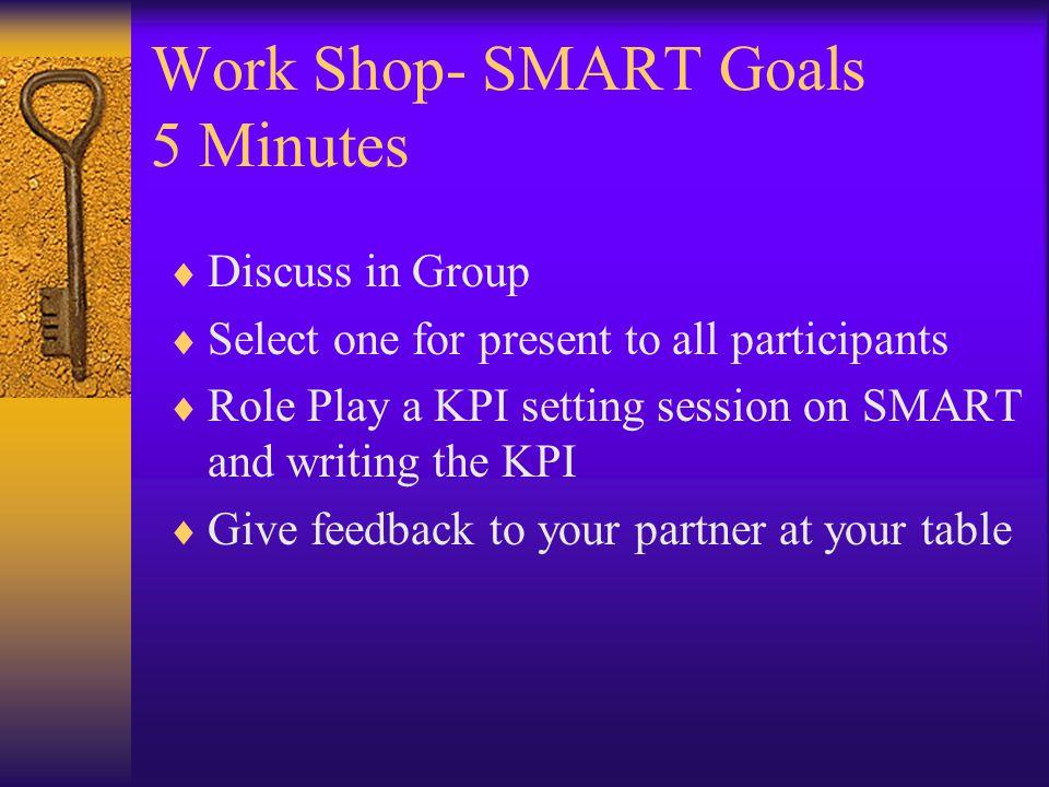 Work Shop- SMART Goals 5 Minutes
