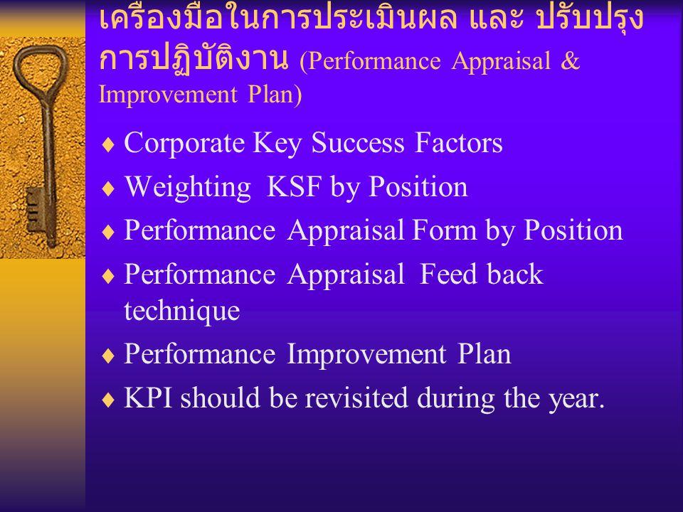 เครื่องมือในการประเมินผล และ ปรับปรุงการปฏิบัติงาน (Performance Appraisal & Improvement Plan)