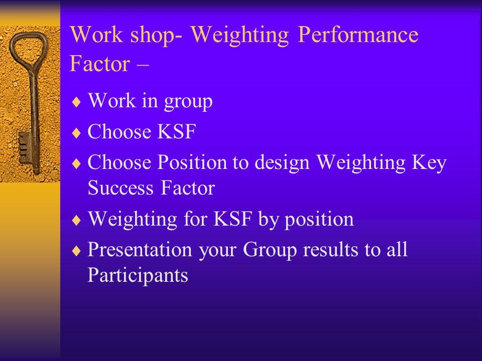 Work shop- Weighting Performance Factor –