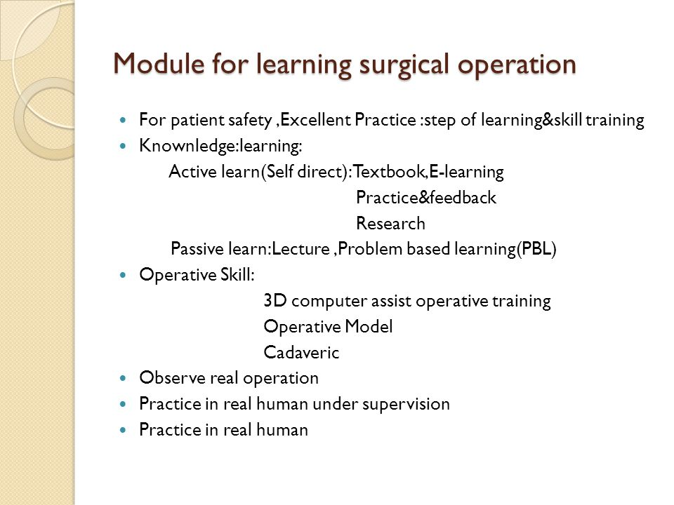 Module for learning surgical operation