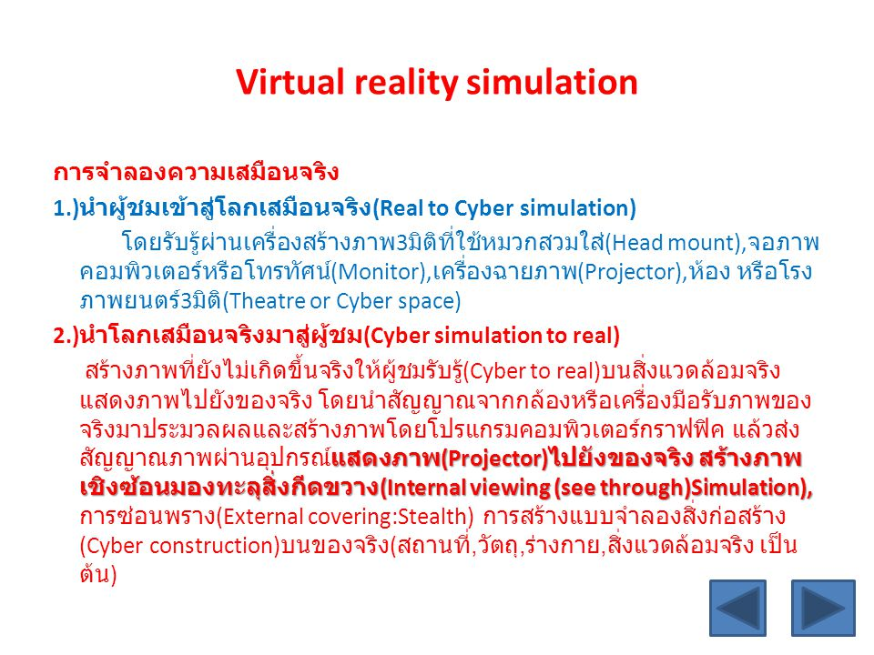 Virtual reality simulation