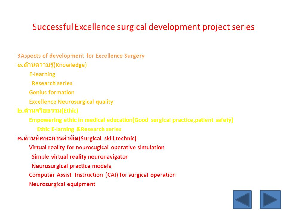 Successful Excellence surgical development project series