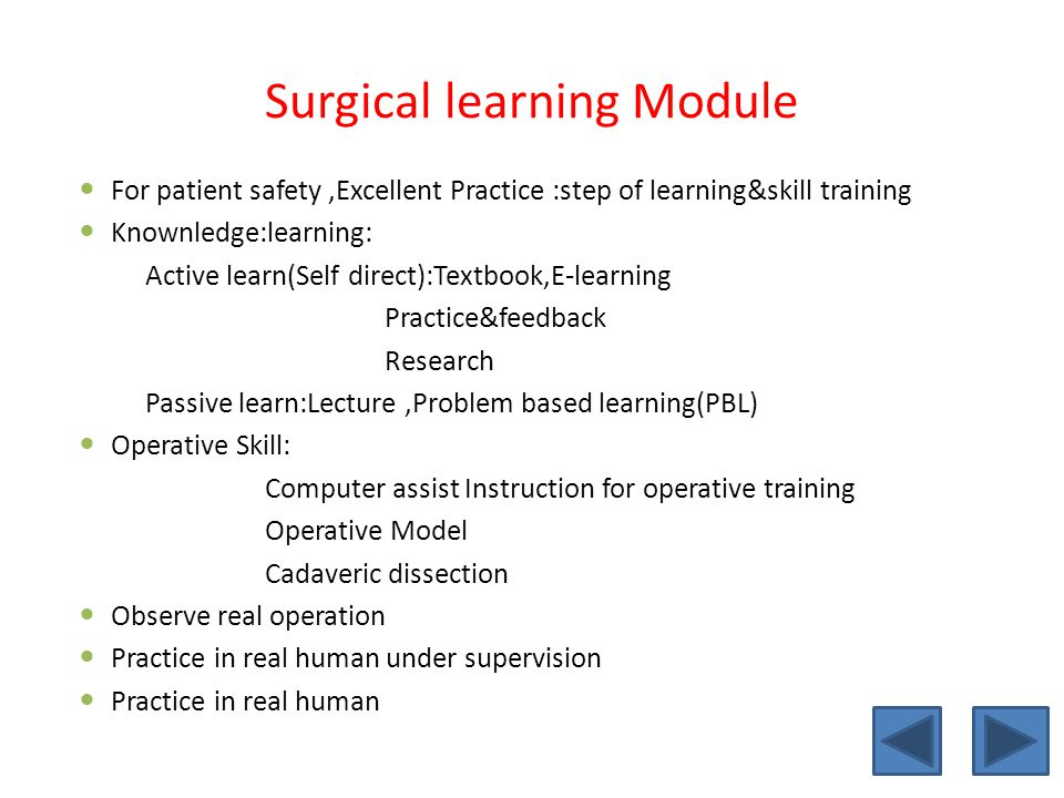 Surgical learning Module
