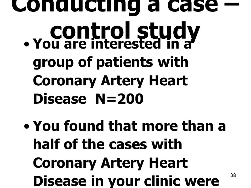 Conducting a case – control study