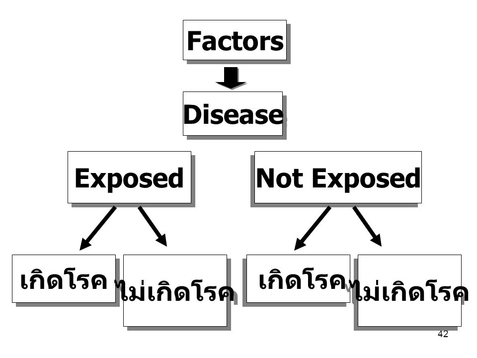 Factors Disease Exposed Not Exposed เกิดโรค ไม่เกิดโรค เกิดโรค ไม่เกิดโรค