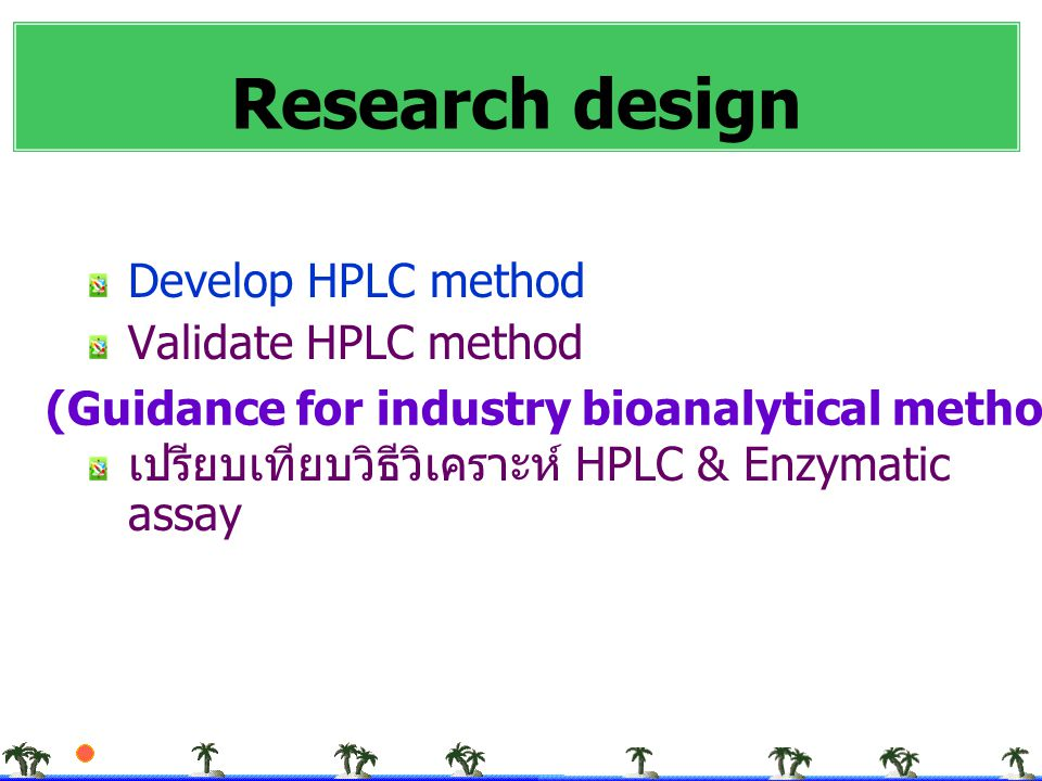 Research design Develop HPLC method Validate HPLC method