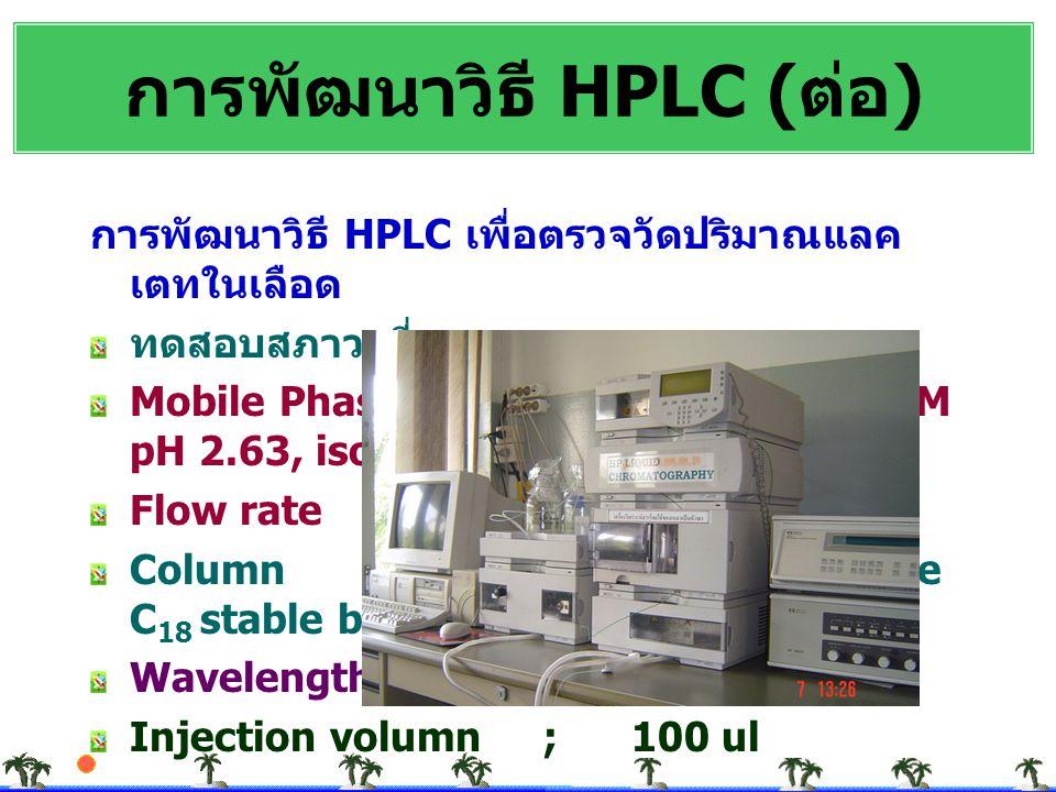 การพัฒนาวิธี HPLC (ต่อ)
