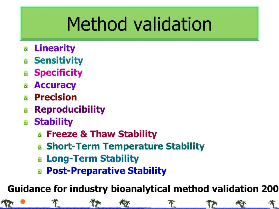 Method validation Linearity Sensitivity Specificity Accuracy Precision
