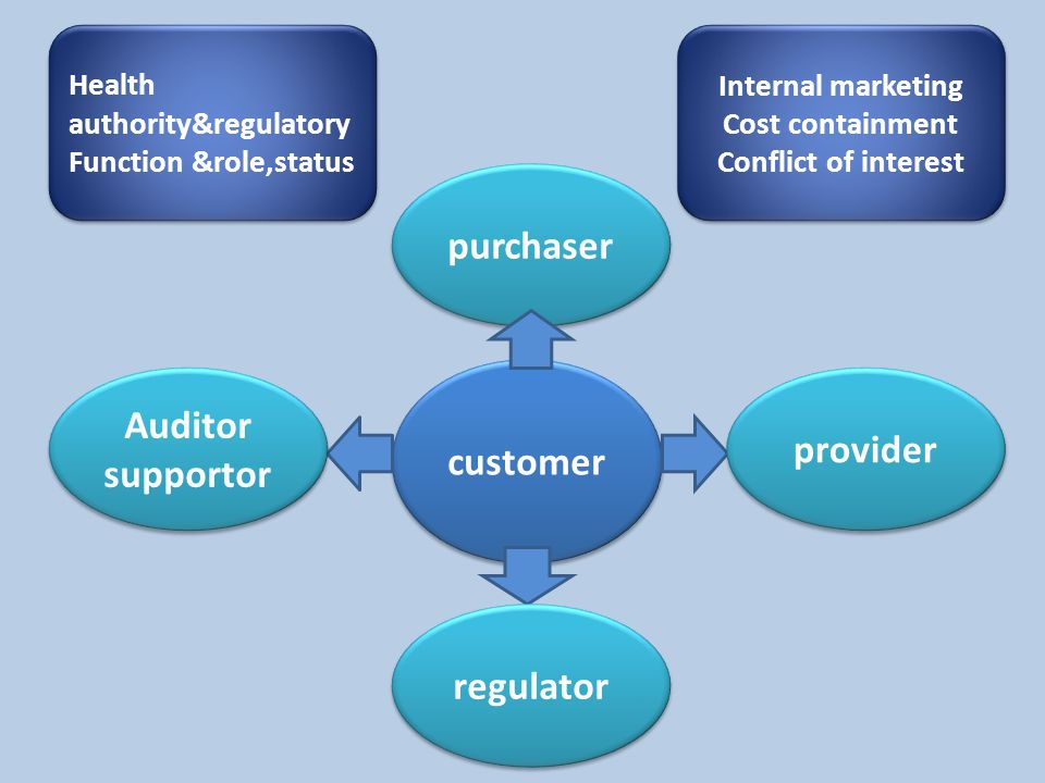 purchaser customer Auditor supportor provider regulator