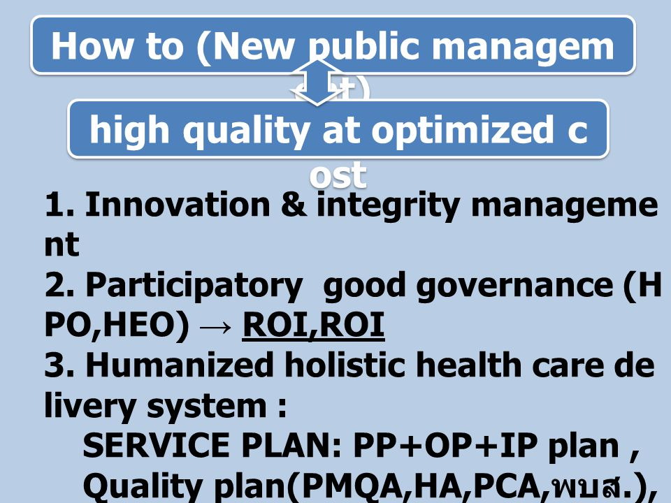 How to (New public management) high quality at optimized cost