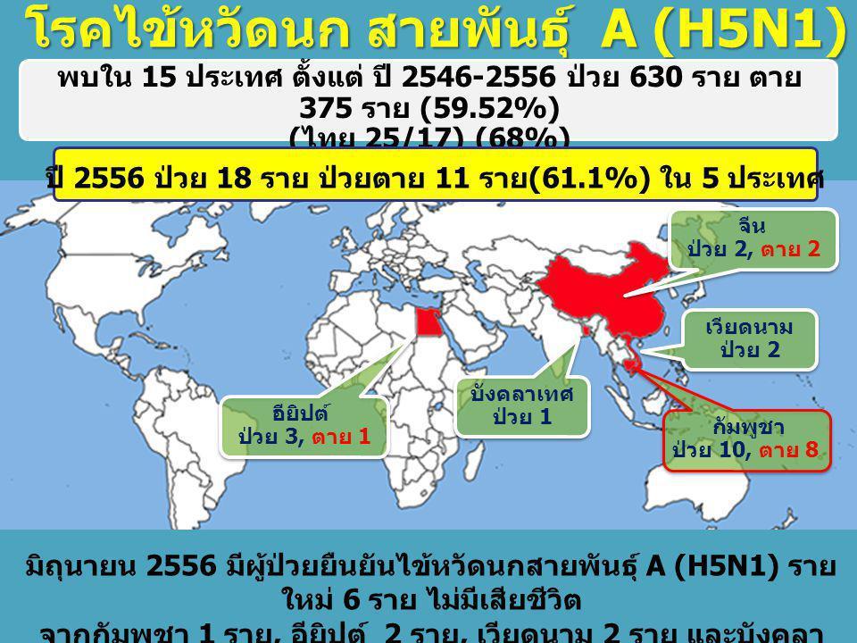 ปี 2556 ป่วย 18 ราย ป่วยตาย 11 ราย(61.1%) ใน 5 ประเทศ