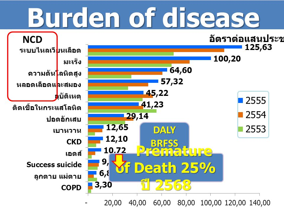 Burden of disease Premature of Death 25% ปี 2568 NCD DALY BRFSS
