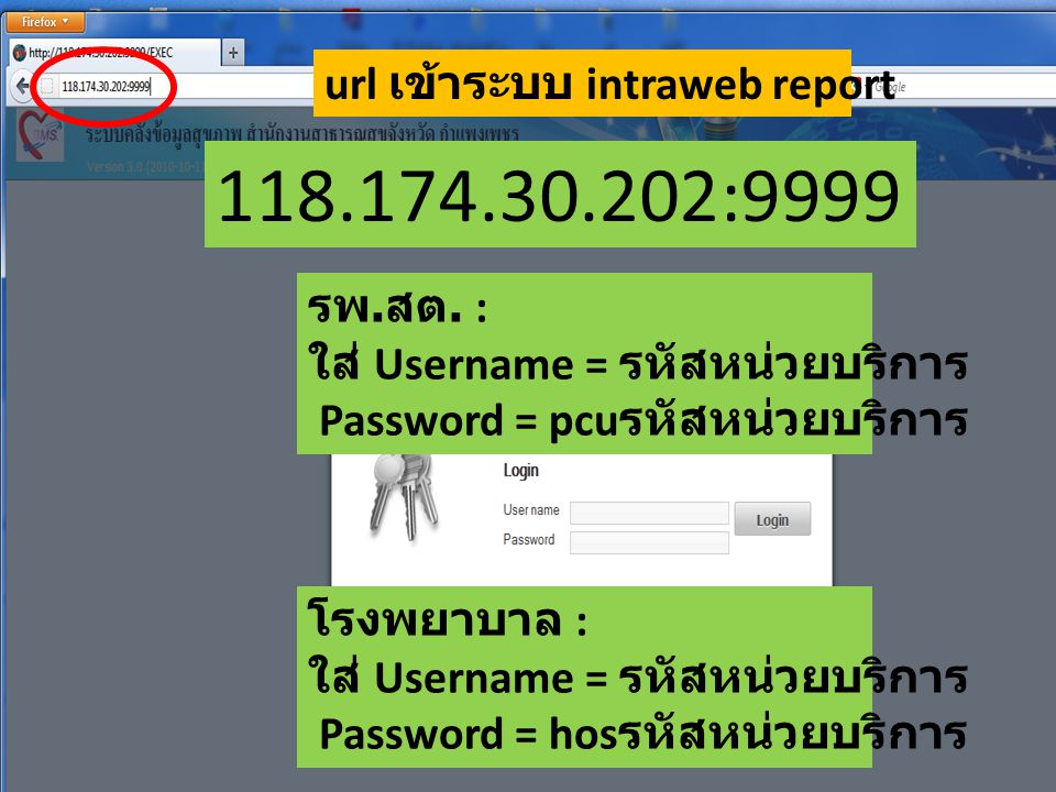 118.174.30.202:9999 url เข้าระบบ intraweb report รพ.สต. :