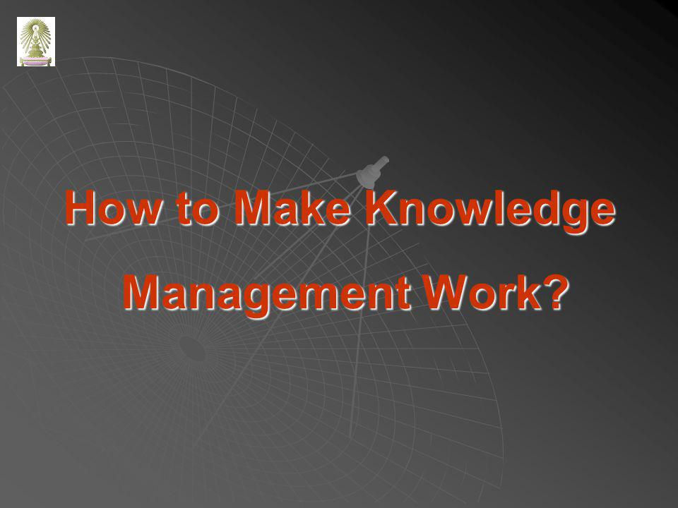 How to Make Knowledge Management Work