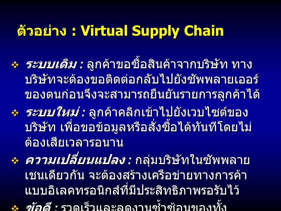ตัวอย่าง : Virtual Supply Chain