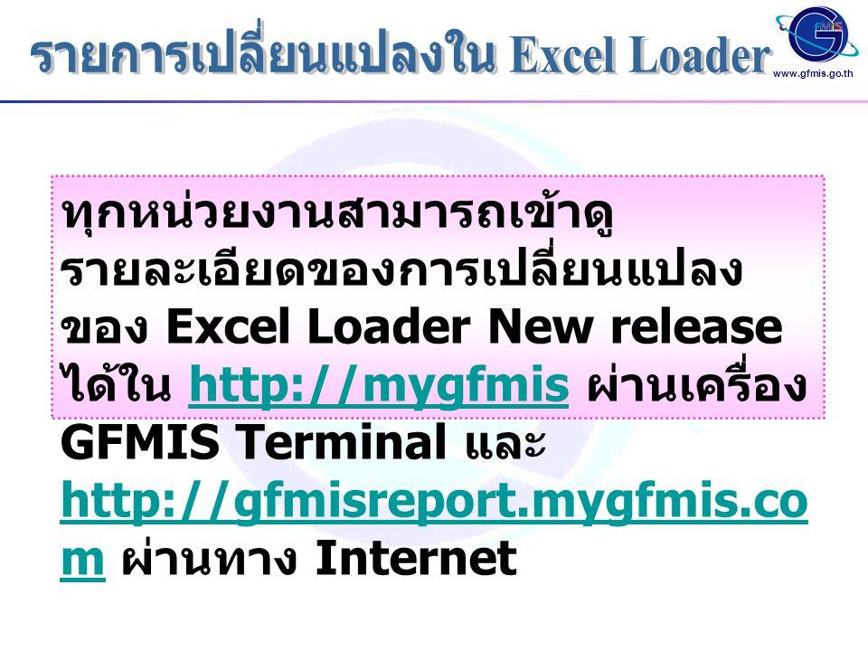 รายการเปลี่ยนแปลงใน Excel Loader