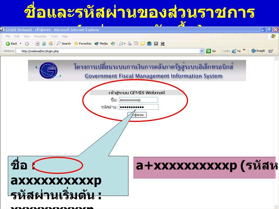 ชื่อและรหัสผ่านของส่วนราชการ(หน่วยงานจัดซื้อ)