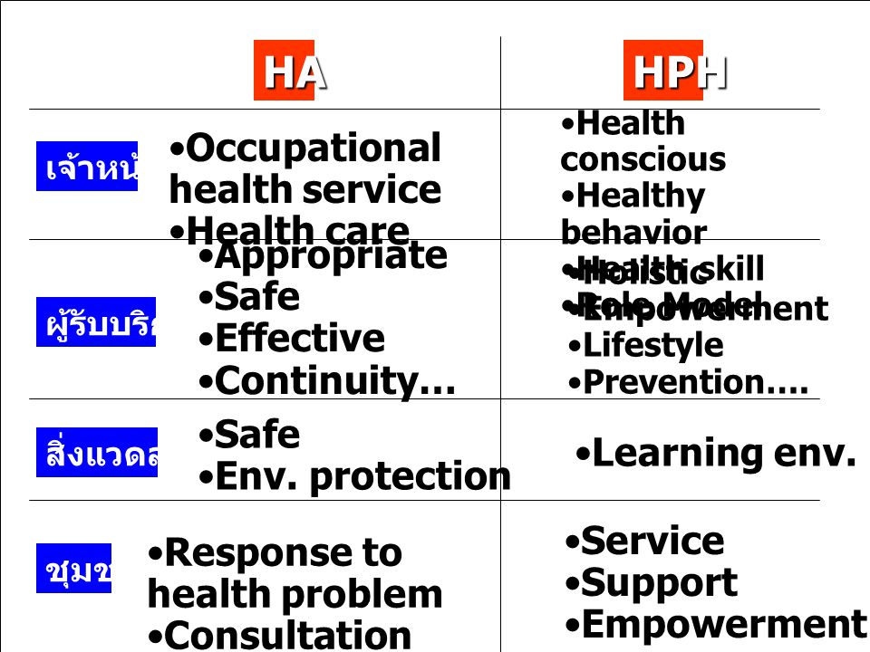 HA HPH Occupational health service Health care Appropriate Safe