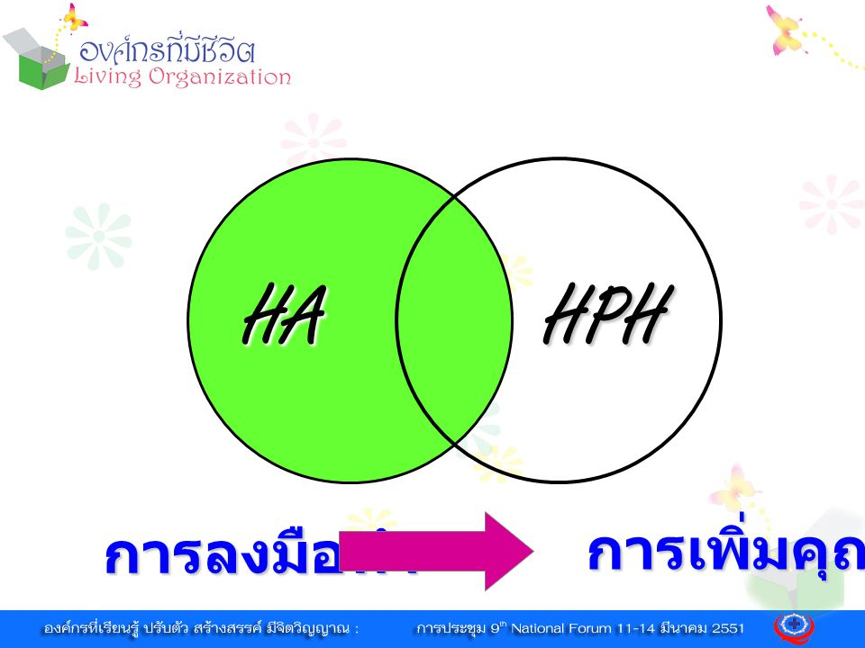 HA HPH การลงมือทำ การเพิ่มคุณค่า