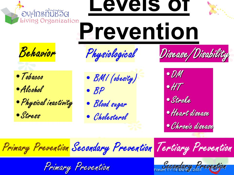 Levels of Prevention Behavior Physiological Disease/Disability