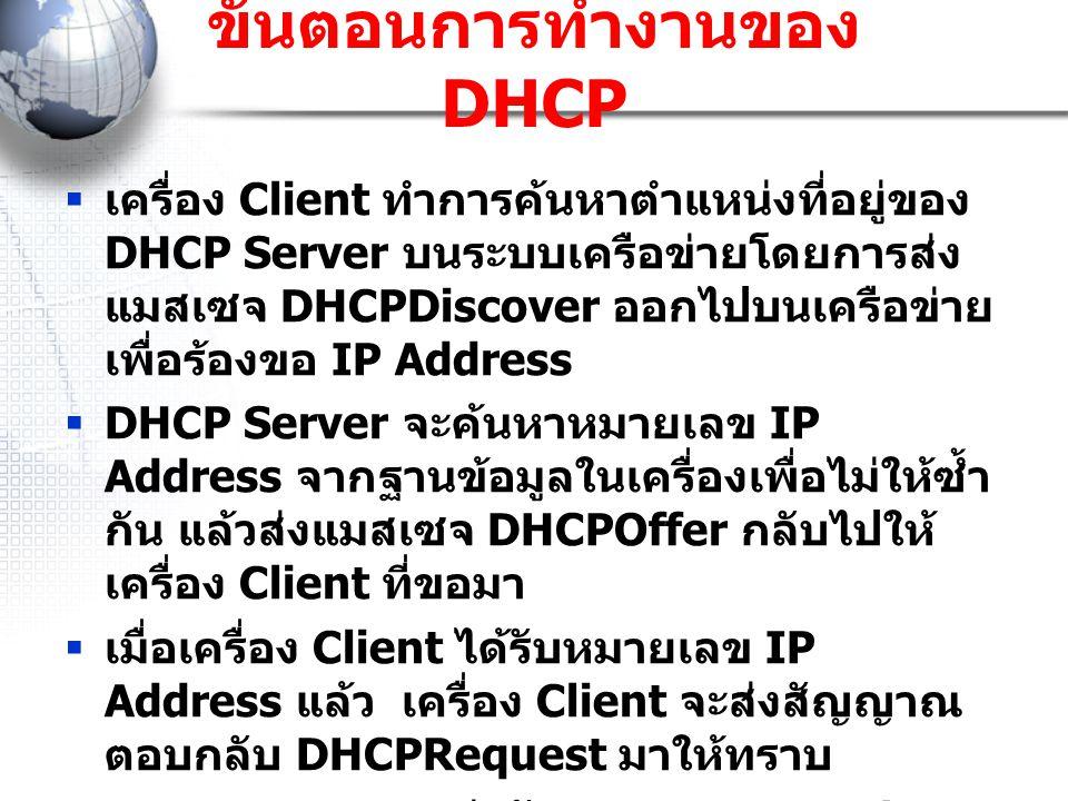 ขั้นตอนการทำงานของ DHCP