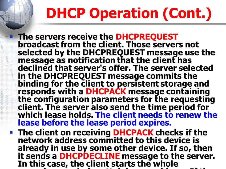DHCP Operation (Cont.)