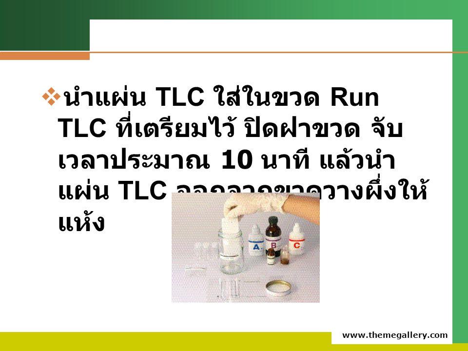 นำแผ่น TLC ใส่ในขวด Run TLC ที่เตรียมไว้ ปิดฝาขวด จับเวลาประมาณ 10 นาที แล้วนำแผ่น TLC ออกจากขวดวางผึ่งให้แห้ง