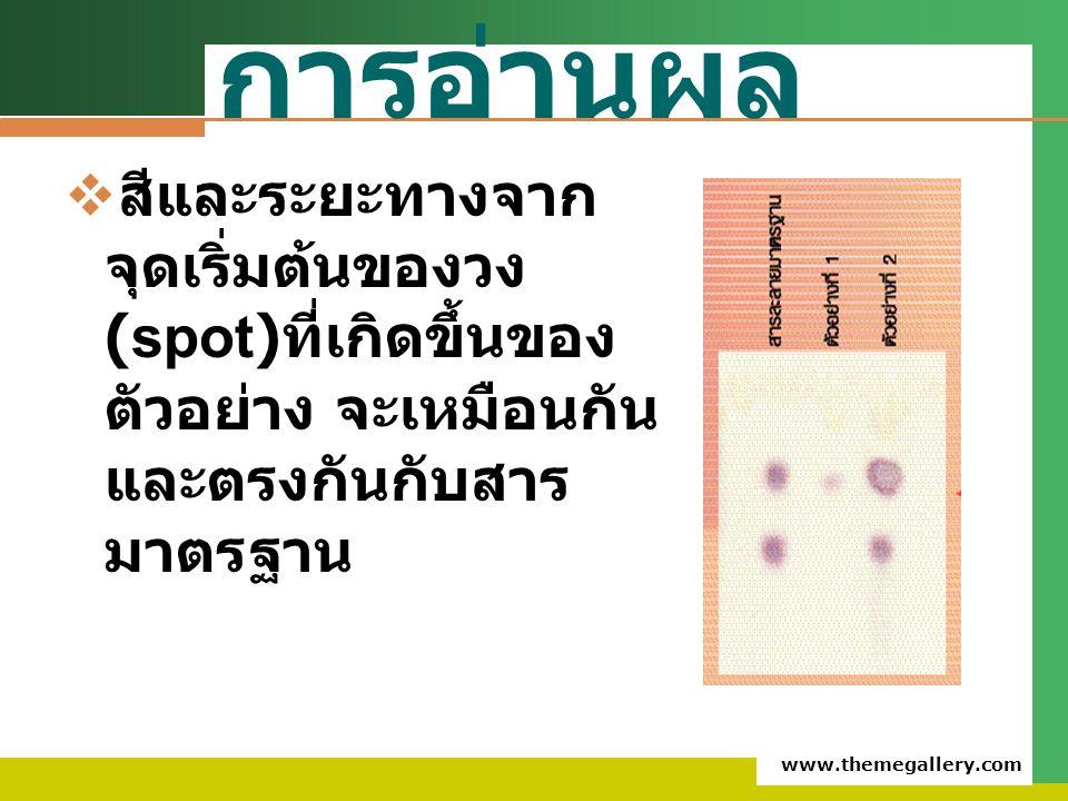 การอ่านผล สีและระยะทางจากจุดเริ่มต้นของวง(spot)ที่เกิดขึ้นของตัวอย่าง จะเหมือนกันและตรงกันกับสารมาตรฐาน.