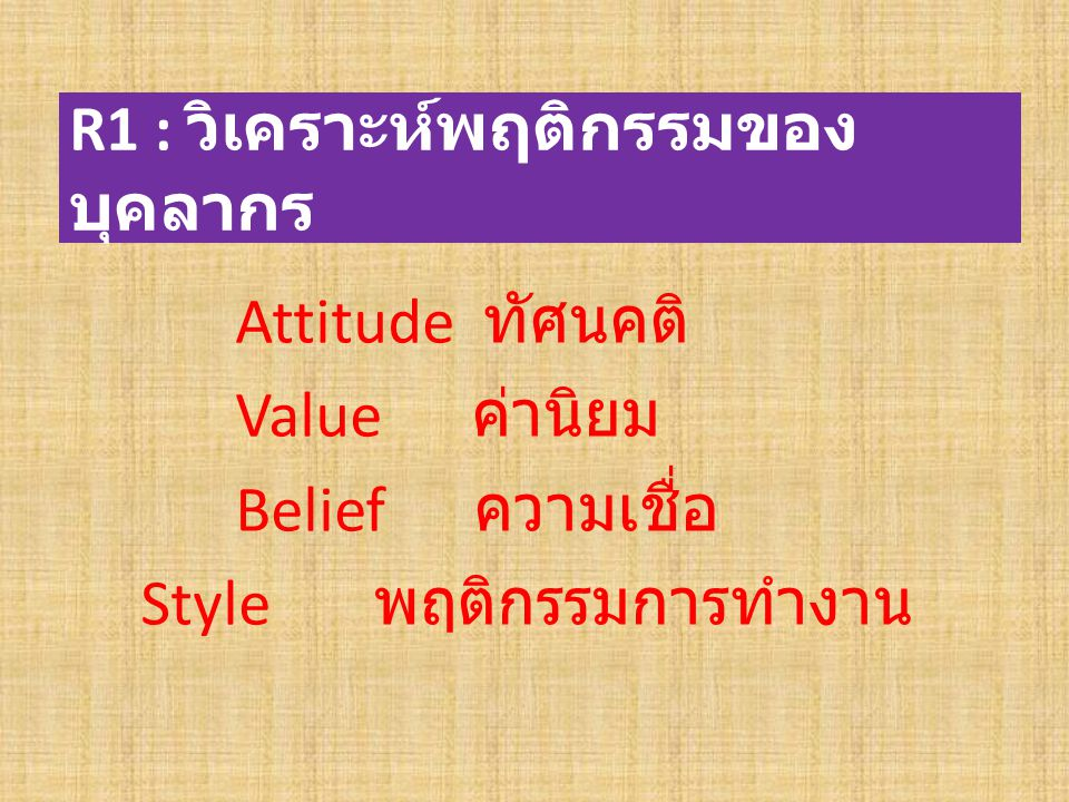 R1 : วิเคราะห์พฤติกรรมของบุคลากร