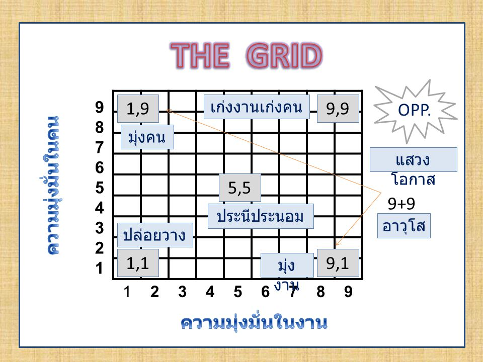 THE GRID OPP. 1,9 9,9 ความมุ่งมั่นในคน 5,5 9+9 1,1 9,1