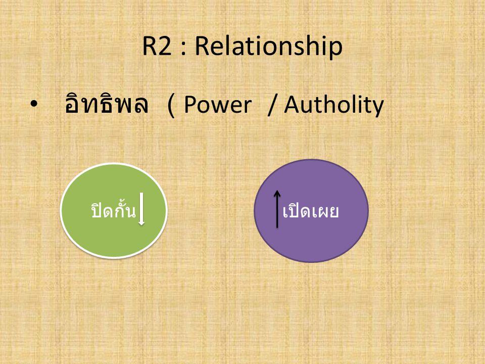 R2 : Relationship อิทธิพล ( Power / Autholity เปิดเผย ปิดกั้น