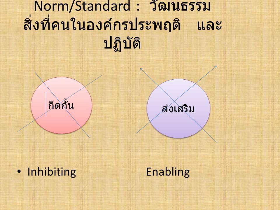 Norm/Standard : วัฒนธรรม สิ่งที่คนในองค์กรประพฤติ และปฏิบัติ