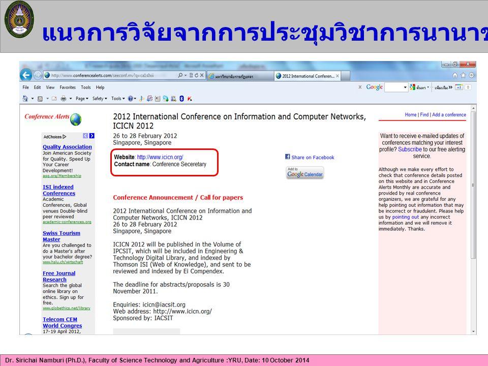 แนวการวิจัยจากการประชุมวิชาการนานาชาติด้าน ICT