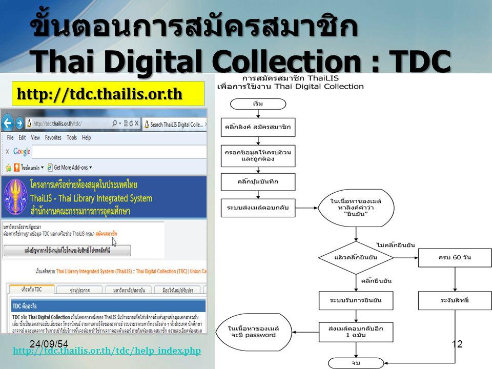 ขั้นตอนการสมัครสมาชิก Thai Digital Collection : TDC