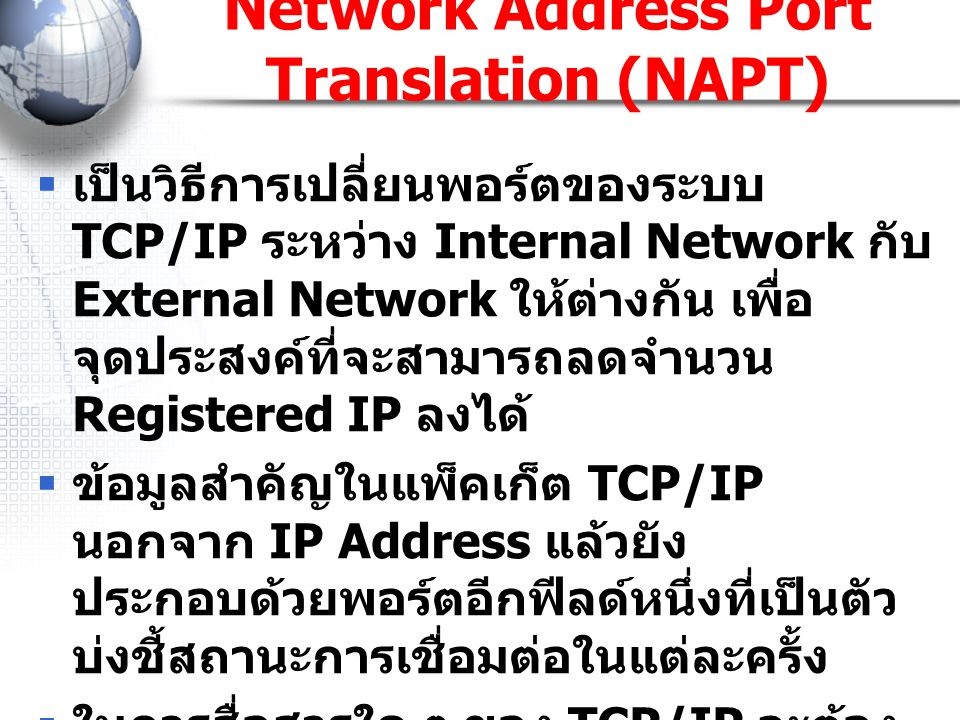 Network Address Port Translation (NAPT)