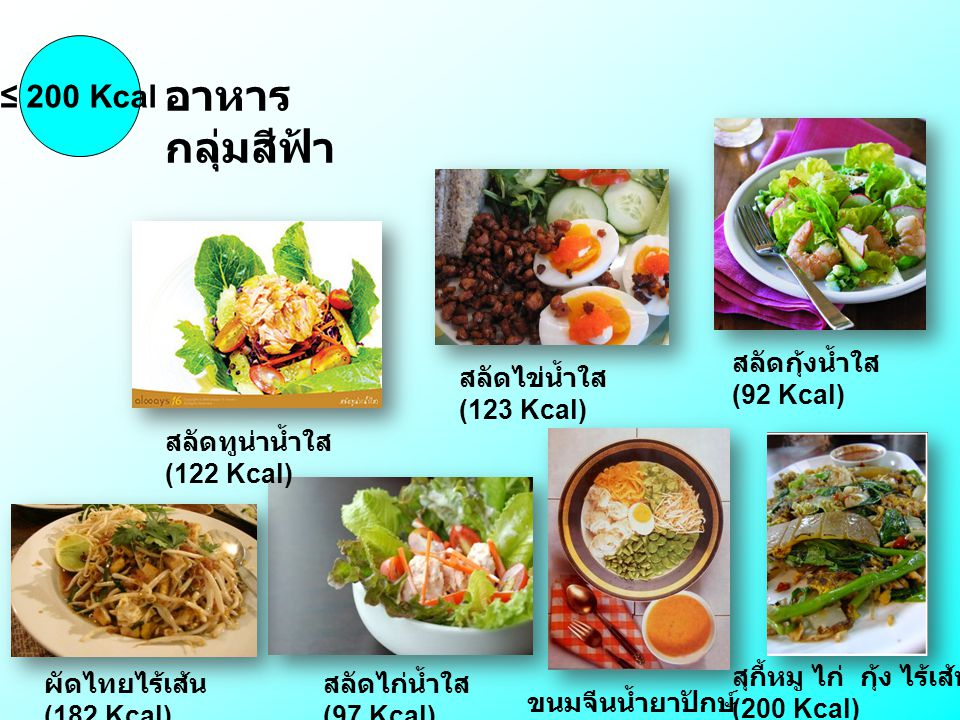 อาหารกลุ่มสีฟ้า ≤ 200 Kcal สลัดกุ้งน้ำใส (92 Kcal)