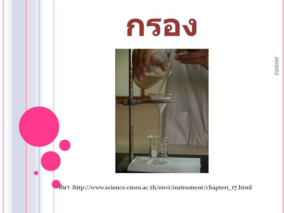 การกรอง 05/06/52 ที่มา :http://www.science.cmru.ac.th/envi/instrument/chapter1_t7.html