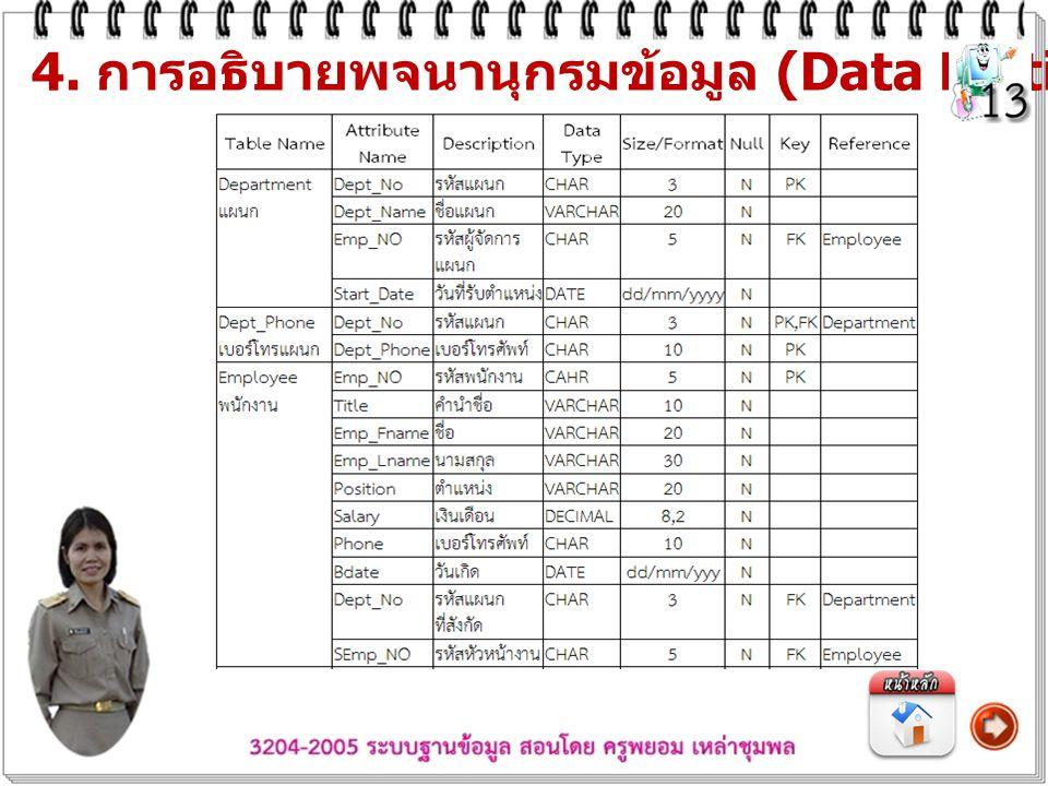 4. การอธิบายพจนานุกรมข้อมูล (Data Dictionary)
