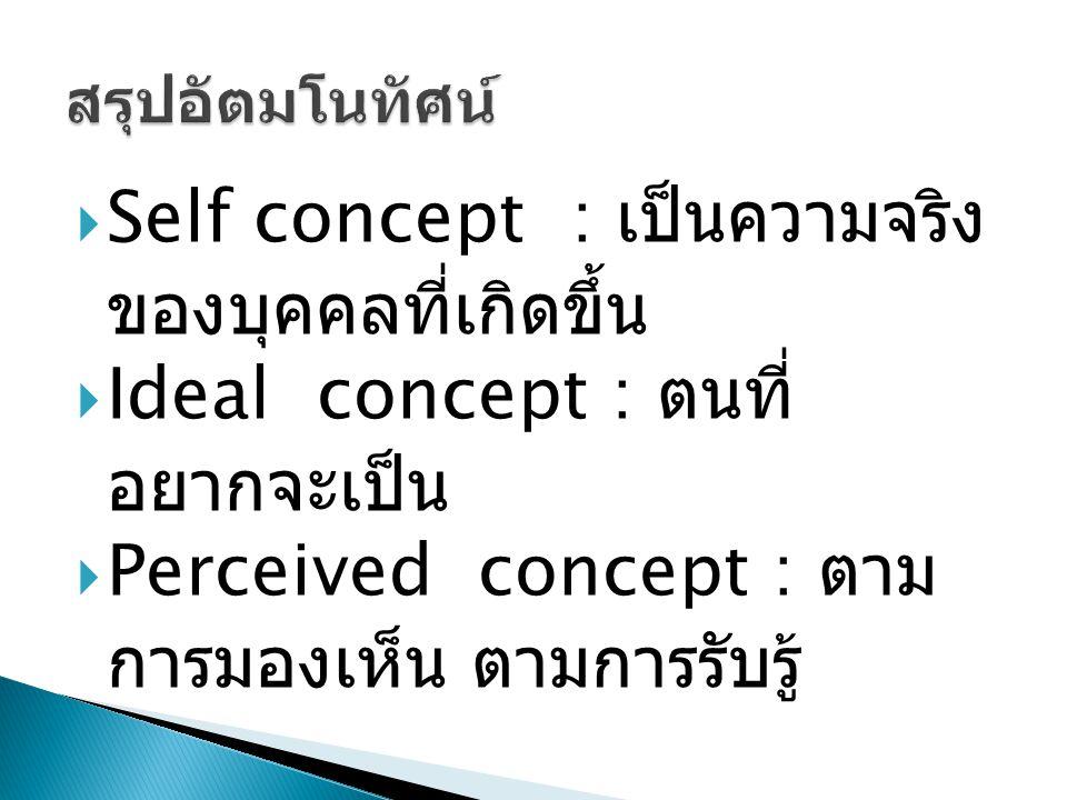 Self concept : เป็นความจริงของ บุคคลที่เกิดขึ้น