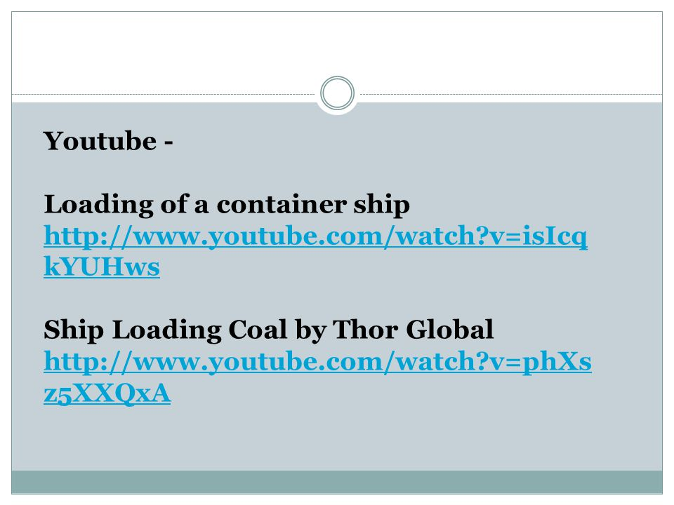 Youtube - Loading of a container ship. http://www.youtube.com/watch v=isIcqkYUHws. Ship Loading Coal by Thor Global.