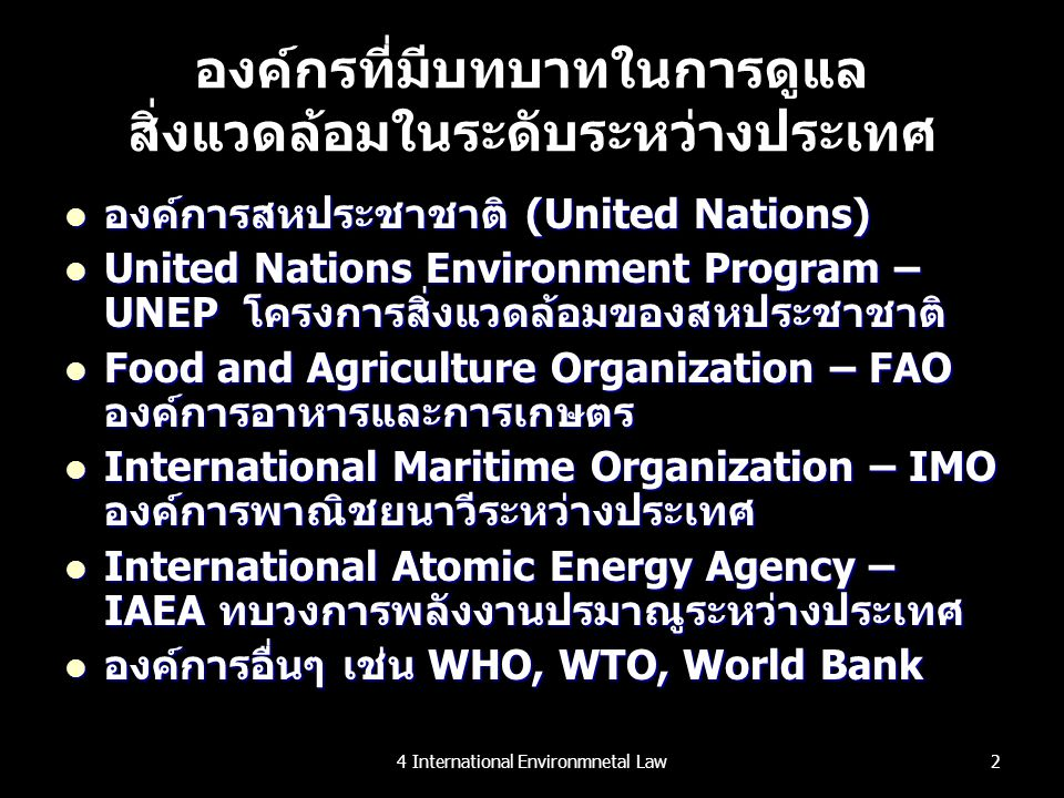 องค์กรที่มีบทบาทในการดูแลสิ่งแวดล้อมในระดับระหว่างประเทศ