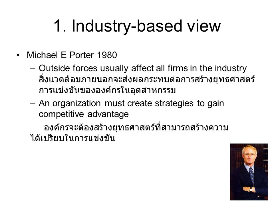 1. Industry-based view Michael E Porter 1980