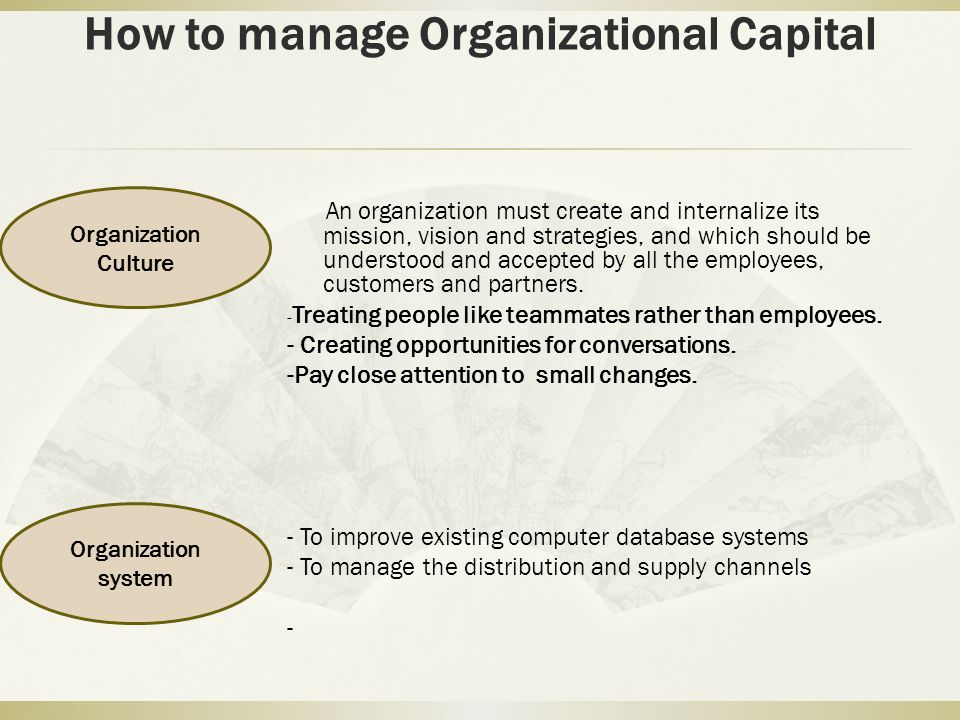 How to manage Organizational Capital