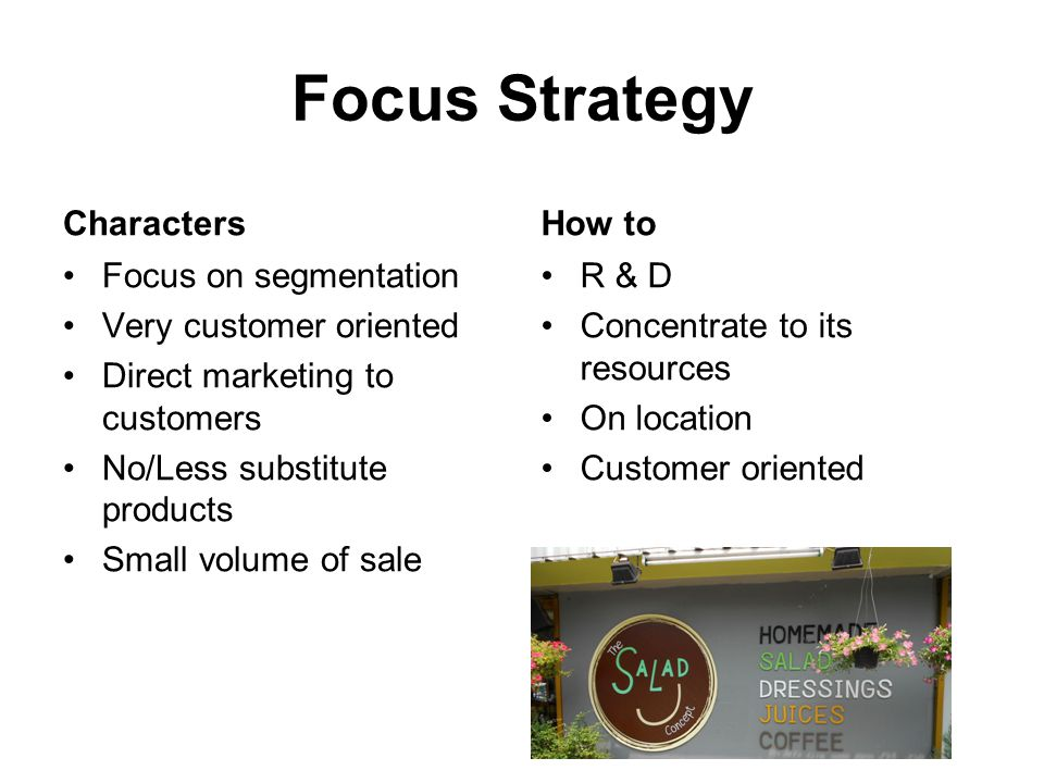 Focus Strategy Characters How to Focus on segmentation