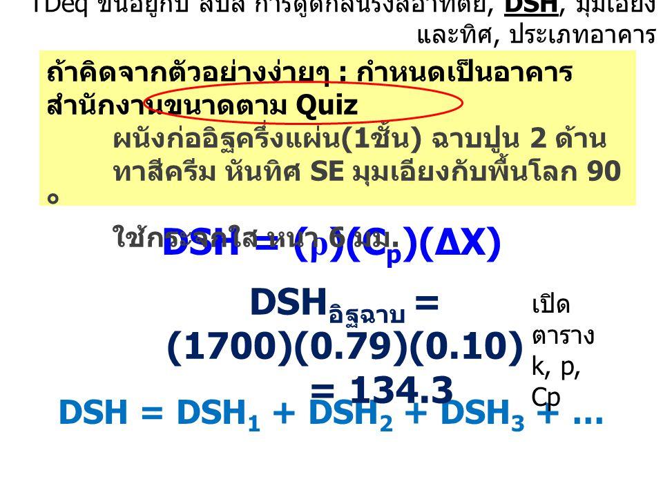 DSH = (ρ)(Cp)(∆X) DSHอิฐฉาบ = (1700)(0.79)(0.10) = 134.3